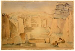 Illustrazzjoni tal-Ġgantija - 1830s bil-kulur
