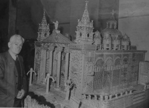 Joseph Sciberras with his model of Floriana parish church