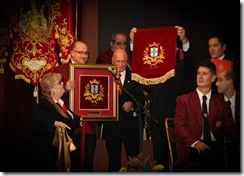 From left - Jane and Alexander  Vella donating the banderoles to Zejtun Band Club