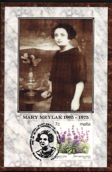 Il-kartolina li harget b'tifkira ta' Mary Meylak fil-100 sena minn twelida.jpg