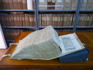 Thick manuscript with information on marine insurance in Notarial Archives (1) (Photo - Fiona Vella)