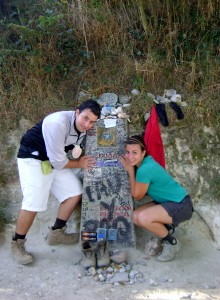 Matthias and Deborah posing with the 100 km milestone on their first visit together in 2012.