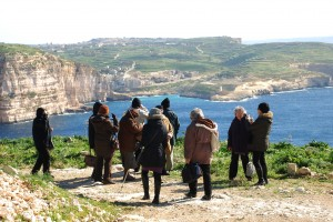 U3E members at Ras il-Wardija overlooking Xlendi Bay, Gozo.