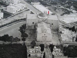 St Gregory's church in the 1960's - red arrow pointing to the raised stone on the roof (Photo by Johnny Vella)